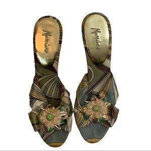 Marciano multicolor satin heels decals